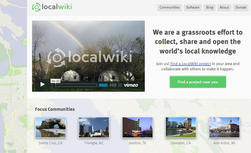 LocalWiki aims to collect, share and open the world's local knowledge.