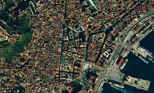 Napoli (Italy). As seen by Astrium Pleiades Satellite with 50cm resolution, on Feb 14th 2013 and processed by MapBox