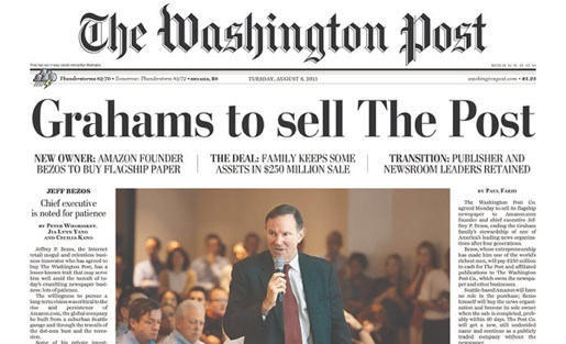 The front page of the Washington Post on Aug. 6. Photo from the Newseum.