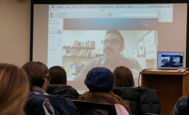 USC Annenberg's Robert Hernandez Skypes into the Social Media & News class to talk about digital strategy for journalists.