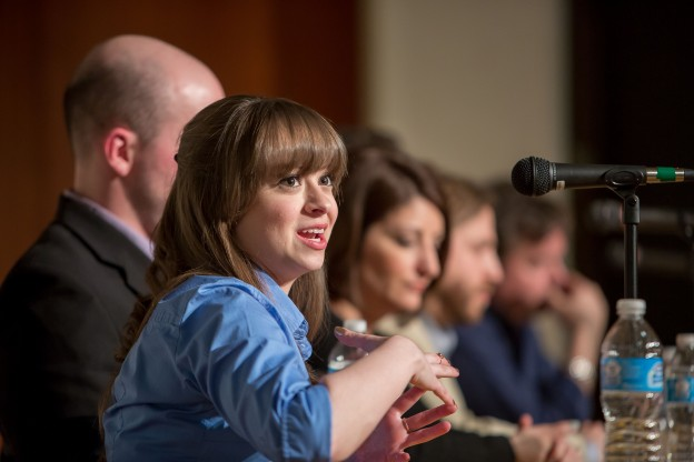 Ashton Marra discusses the media's coverage of the recent Charleston, W.Va. chemical spill during a panel event sponsored by the P.I. Reed School of Journalism at West Virginia University on Monday, March 24, 2014.  (David Smith/P.I. Reed School of Journalism)