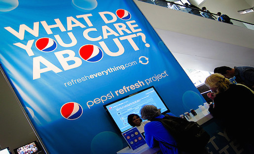 Corporate brands are all over the SXSW conference. The Pepsi Refresh Project made an appearance at the 2010 festival. Photo by Nan Palmero on Flickr and used here with Creative Commons license.