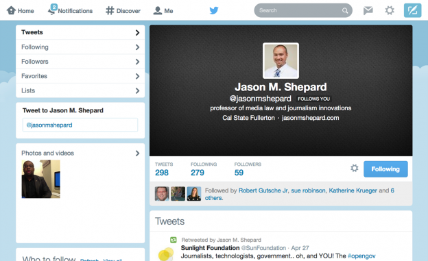 Screenshot of Jason Shepard Twitter Profile