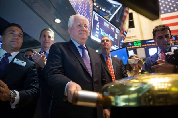 Time Inc. CEO Joe Ripp rings the opening bell at the New York Stock Exchange