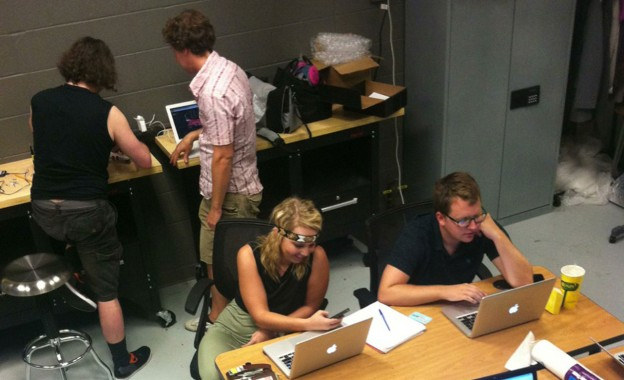 Students at work in Matt Waite's maker space.