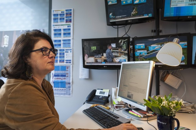 A woman at the helm of a French newsroom: Francoise Champey Huston is Deputy Director of France 24's English channel. PHOTO CREDIT: Tim Anger (copyright)