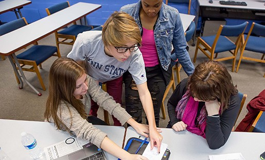 """Photo by: David Smith Students at the """"A Women's Hackathon on Wearables"""" had 36 hours to develop a start-up technology around wearable devices."""
