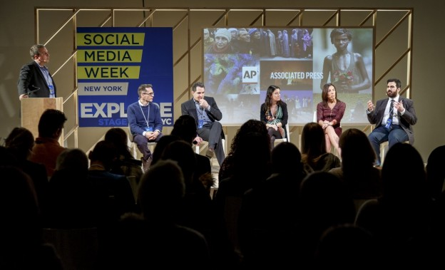 From left to right: Lou Ferrara from the Associated Press, Miklos Sarvary of Columbia Business School, David Reiter of ABC News, Elizabeth Spiers of Gawker, Lisa George of Hunter College, and Tom Namako at BuzzFeed News. Courtesy of Social Media Week 2015