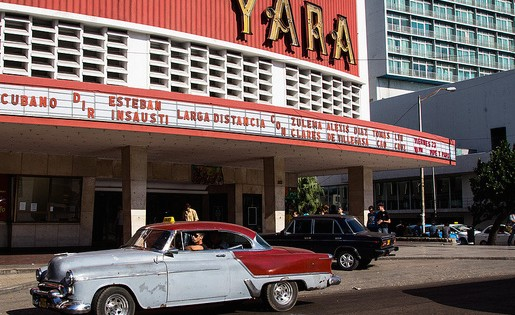 Cine Yara, one of Havana's most famous cinema halls. Photo by Flickr user Franck Vervial and reused here with Creative Commons license.