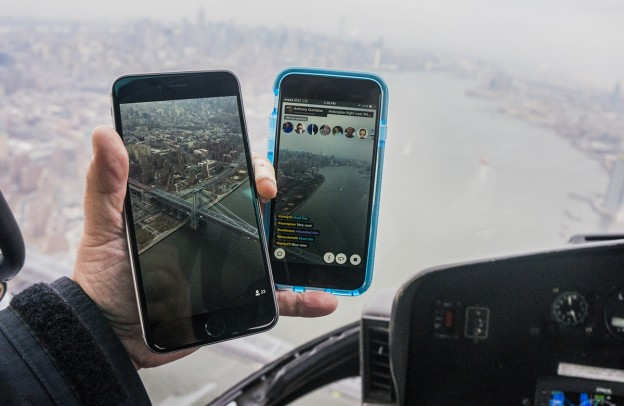 Meerkat App and Periscope App from Helicopter over New York City. Photo by Anthony Quintano