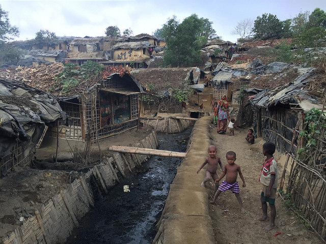 a large rural slum has sprung up around the UNHCR-government run camp of Kutupalong, Bangladesh, which houses Rohingya refugees who are officially recognized by the government. Photo by EU/ECHO/Pierre Prakash for the European Commission and reused here with Creative Commons license.