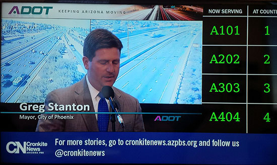 Cronkite News headlines and links appear on ADOT TV screens in five Phoenix locations. The boards will expand to 30 outlets statewide by 2016. (Courtesy photo)
