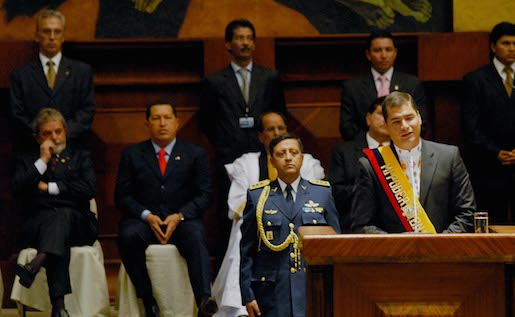 Rafael Correa during his inaugural speech as president of Ecuador. Photo courtesy of Agência Brasil and reused here with Creative Commons license.
