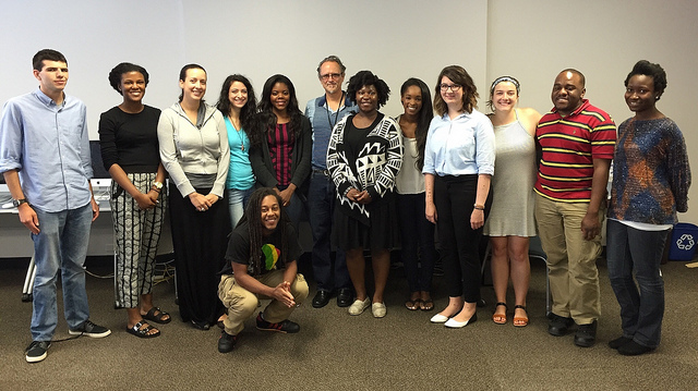 This year's GNL students meet with Atlanta Journal-Constitution watchdog journalist James Salzer. Photo courtesy of the Georgia News Lab.