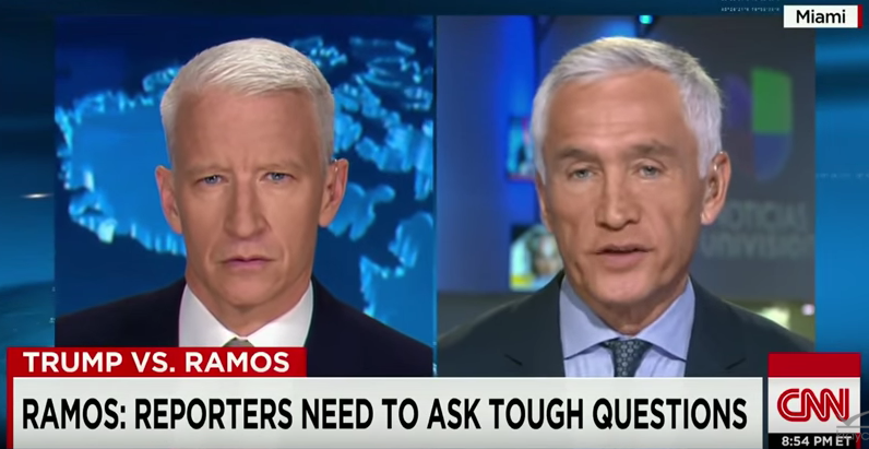 Screenshot of CNN interview with Jorge Ramos.