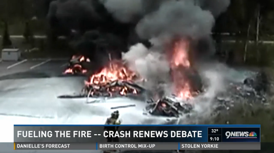 Screenshot of KUSA story on Flight for Life helicopter crashes.