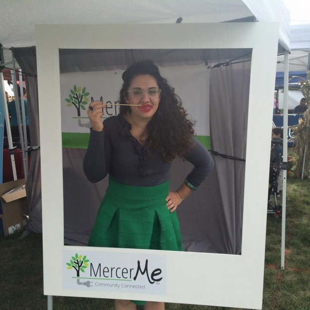 Mary Galioto of New Jersey hyper-local MercerMe promoting her site