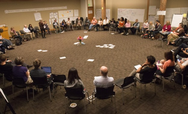 Conference participants share their final reflections at Experience Engagement. Photo by Emmalee McDonald.