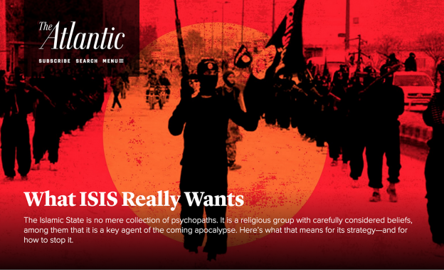 Screenshot from the Atlantic story What ISIS Really Wants