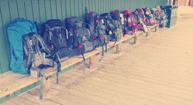 Backpacks at the end of the Overland Track Photo by Doug Beckers