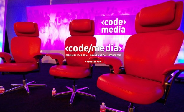 A screenshot of the Code/Media homepage. The Code/Media conference begins in Dana Point on Feb. 17, 2016.