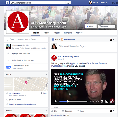 USC Annenberg Media's Facebook page has more than 30,000 likes, in part due to the efforts of the JEDI desk.