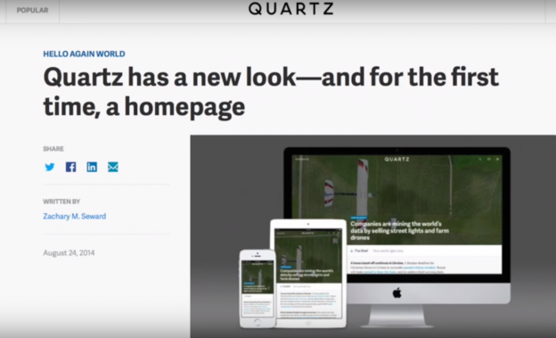 A screenshot from this week's RJI Futures Lab video, which goes behind the scenes at Quartz.