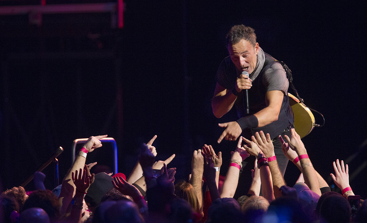 Bruce Springsteen engages with the audience during his Feb. 21, 2016 concert in Louisville, Ky. (Pat McDonogh/The Courier-Journal)