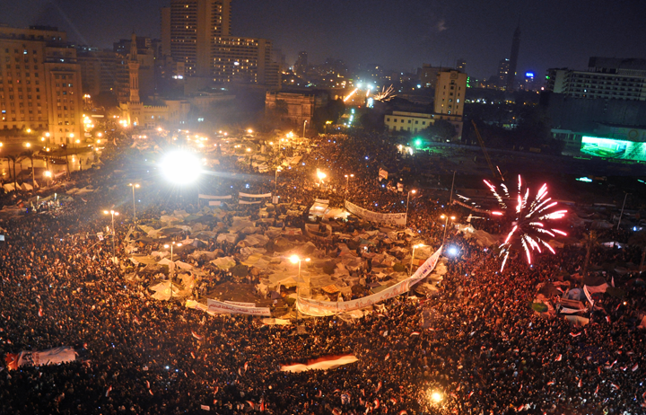 Celebrations in Tahrir Square after Omar Soliman's statement that concerns Mubarak's resignation. February 11, 2011. Photo by Jonathan Rashad and used here with Creative Commons license.