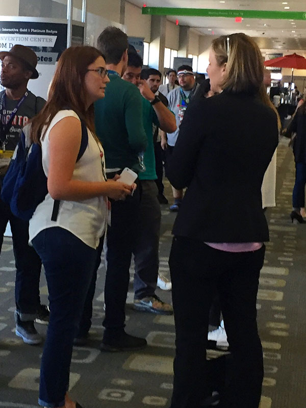 Becky Larson speaks with U.S. Chief Technology Officer Megan Smith after her panel session.