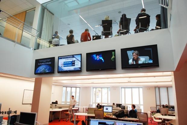 The futures lab can be seen inside the Reynolds Journalism Institute on the campus of the University of Missouri in Columbia, Missouri. Photo courtesy of the Reynolds Journalism Institute.