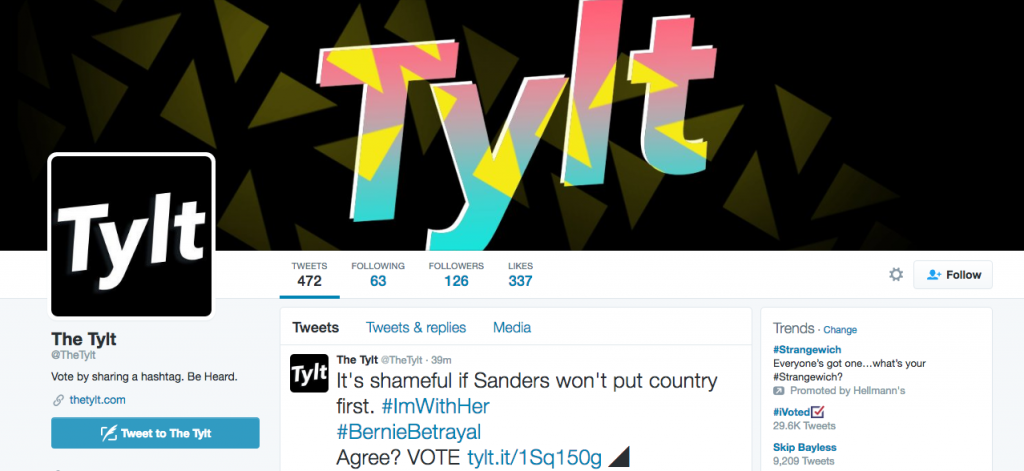 A screenshot of The Tylt's Twitter page.