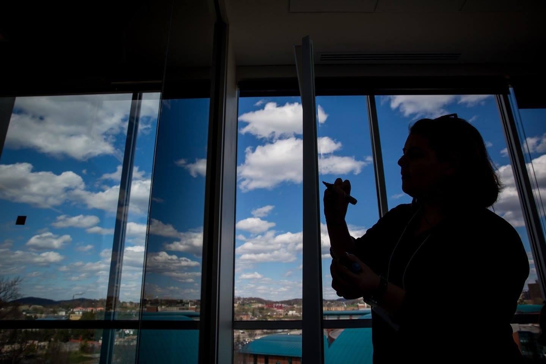The Media Innovation Center at West Virginia University overlooks Morgantown. Photo Credit: David Smith