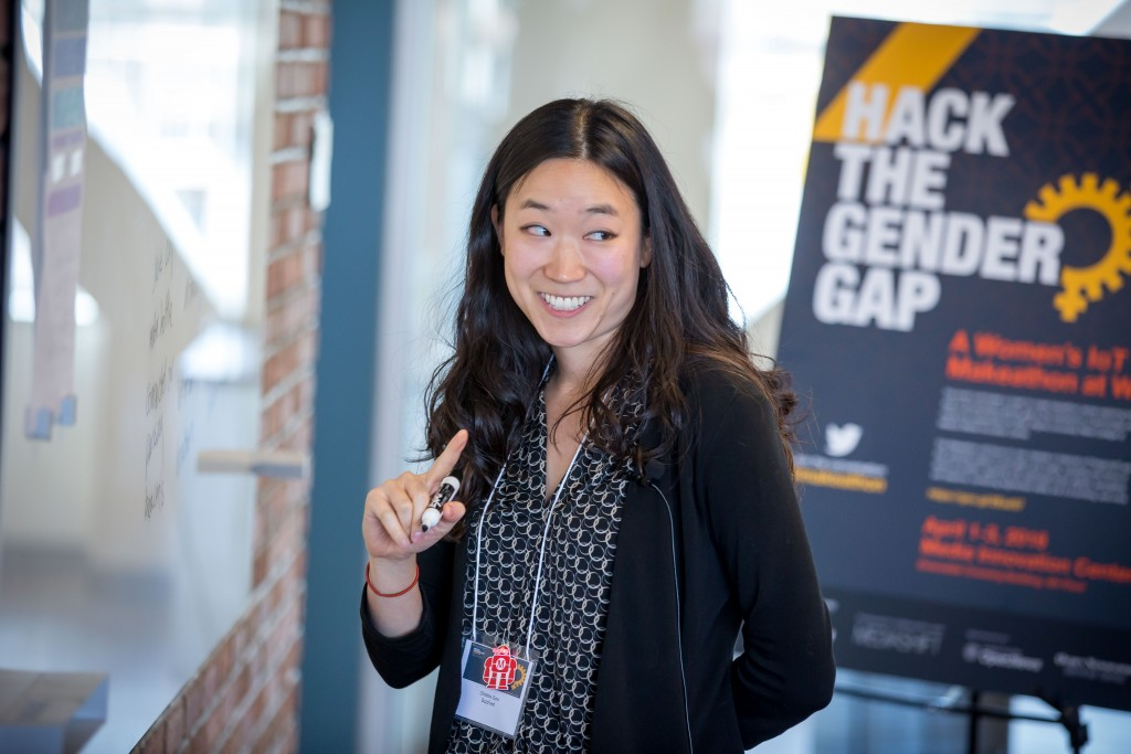 Christine Sunu of Buzzfeed talks about inputs and outputs of IoT during the makeathon at WVU. (Photo by David Smith/WVU Reed College of Media)