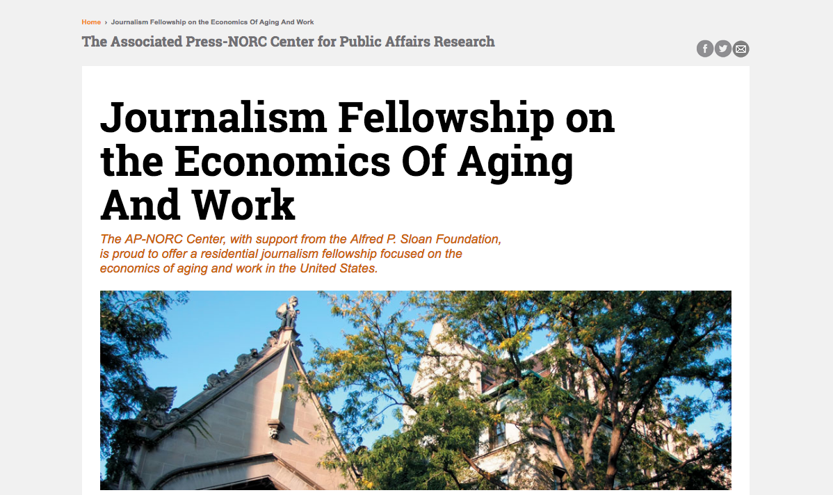 The deadline to apply for the Journalism Fellowship on the Economics of Aging and Work is May 16, 2016.