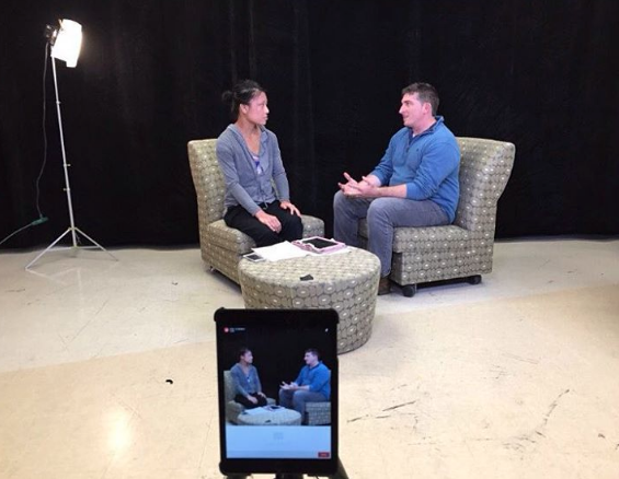 New Mexico News Port intern Angela Shen interviews Elan Collelo about virtual reality during a show on April 20, 2016.