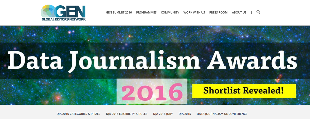 The Data Journalism Awards shortlist features 63 finalists. The 12 winners will be announced on June 16, 2016.