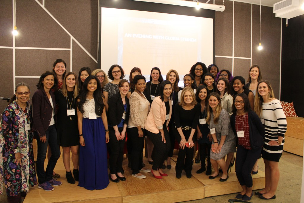 Mentors and mentees take a photo with Gloria Steinem at a program event in April. Photo courtesy of the Institute for Women's Leadership