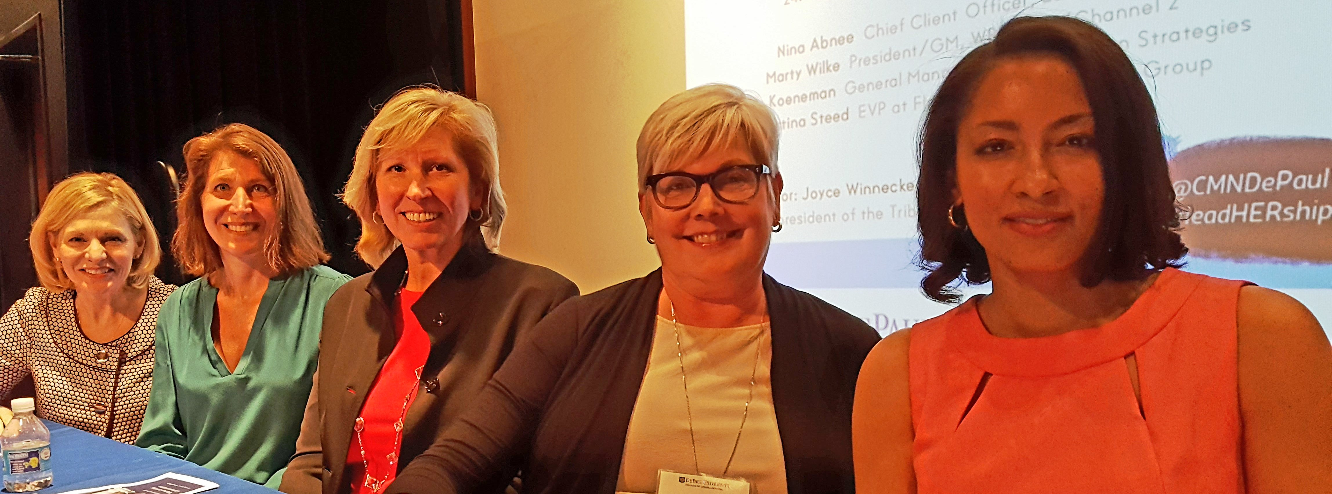 Student-organized #LeadHERship Panel from the Leadership 2.0 class at DePaul University, April 25, 2016.  From left to right, moderator Joycelyn Winneke, formerly of Tribune Content Agency; Claire Koeneman, Hill + Knowlton Strategies; Marty Wilke, WBBM-TV/Channel 2 Chicago; Nina Abnee, Leo Burnett; Christina Steed, Flowers Communications Group.  Photo: Ron Culp.
