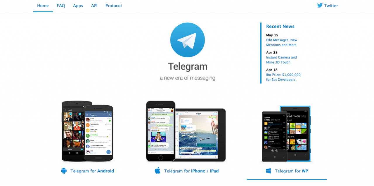A screenshot from Telegram's website.