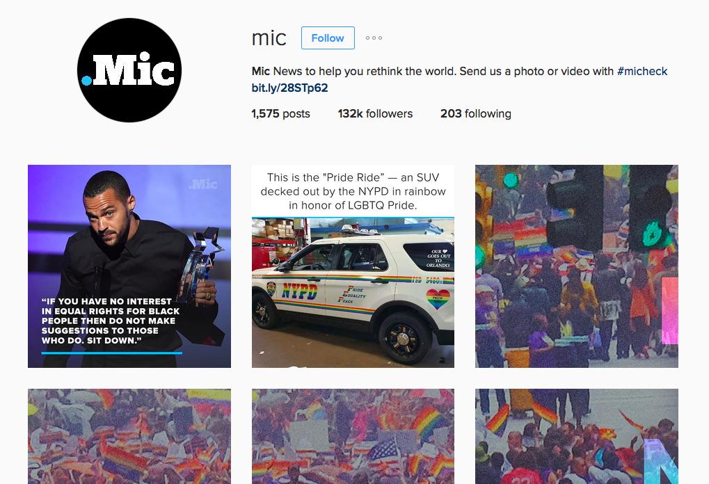 Mic is xxx on Instagram. Screenshot.