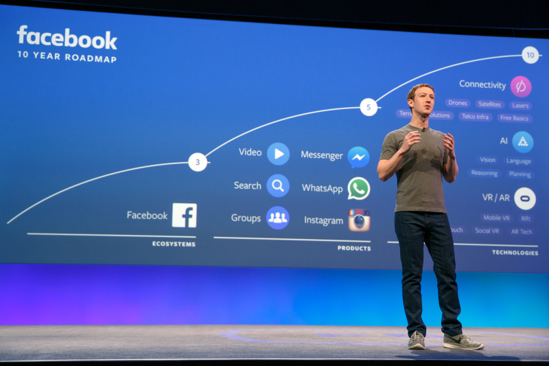 Mark Zuckerberg onstage at F8 2016. Photo courtesy of Facebook.
