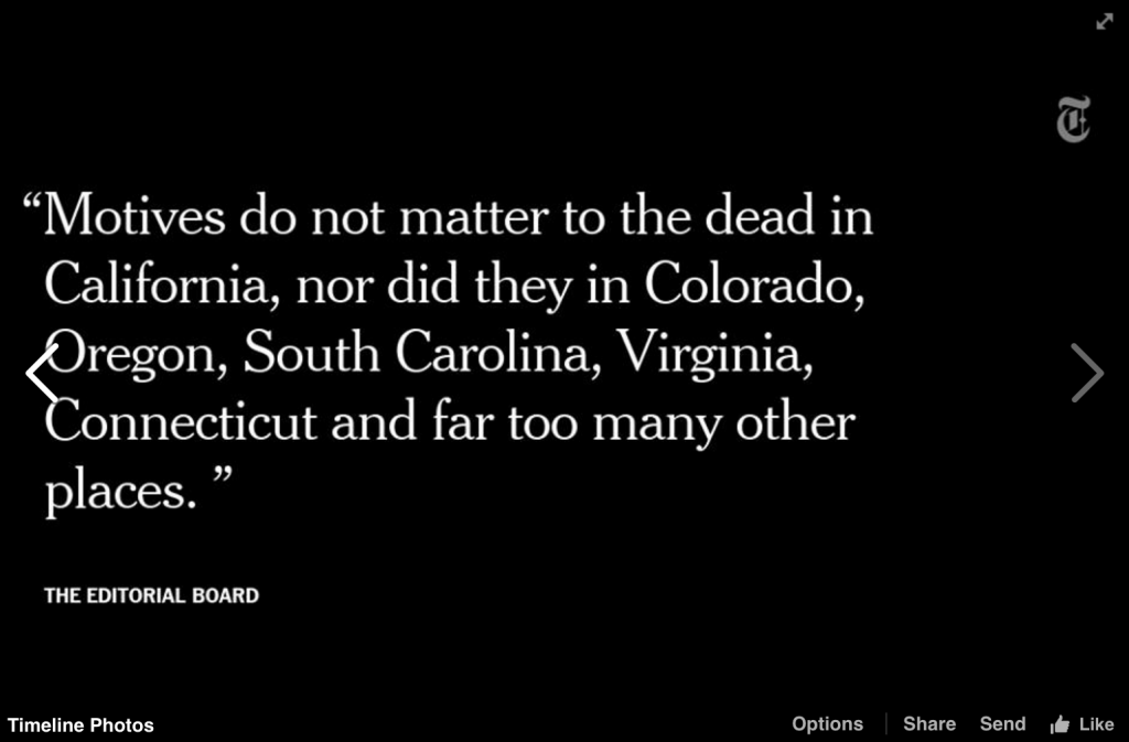 Screenshot of New York Times Gun Editorial on Facebook
