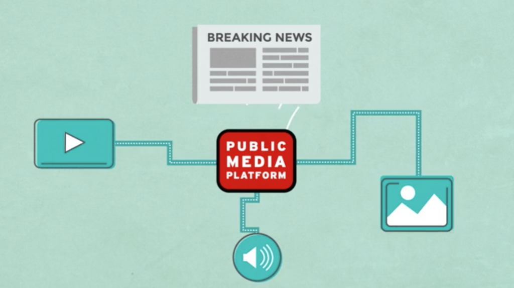 A screenshot from the Public Media Platform's video on YouTube.
