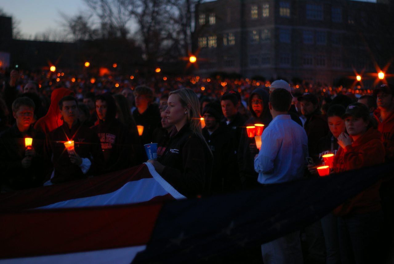A candlelight vigil following a mass shooting at Virginia Tech. Last month, a play based on the school shooting in Roseburg, Oregon, sparked outrage among locals. Photo by Ben Townsend and used here with Creative Commons license.