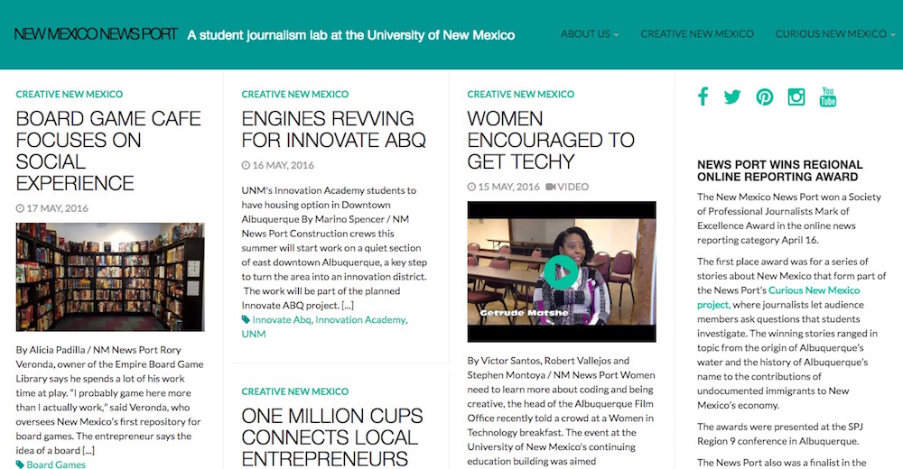 A screen shot of a page on the New Mexico News Port's website, where students spent a year chronicling the state's creative economy. The project looked at ways New Mexicans are working to diversify the state's economy, which relies heavily on oil and gas extraction but is seeing an uptick in technical and artistic start up companies.