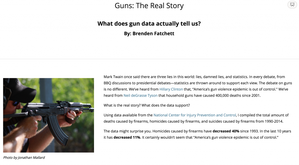 Screenshot of another students op-ed angle on gun deaths and media coverage. As any good writer does, this student told a compelling story with both data and text.