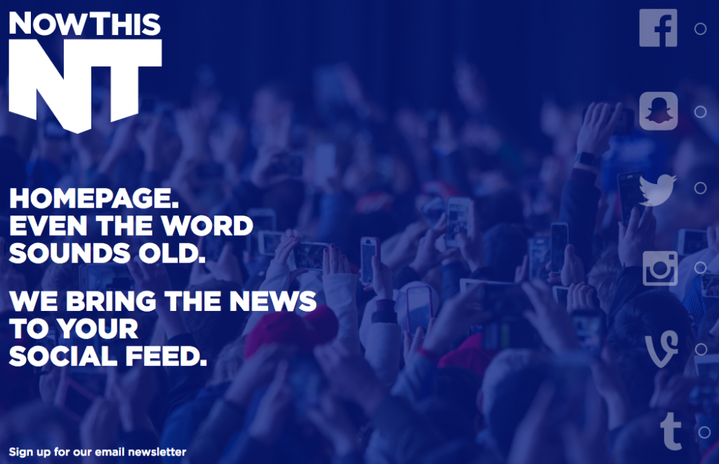 A screen shot of NowThisNews.com directs readers to the company's social media platforms in order to find news.