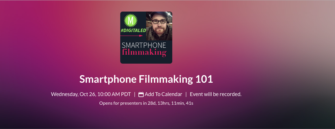 Sign up for DigitalEd's Smartphone Filmmaking 101 training with Kyle Brannon.