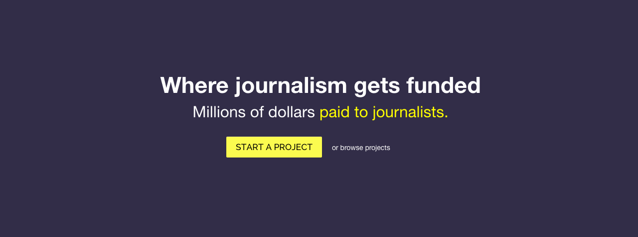 A screenshot from Beacon's website. The journalism-only crowdfunding platform will shut down at the end of October.